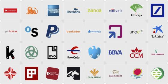 Listado de bancos soportados a fecha de marzo de 2014.